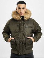 Urban Classics Pilottitakit Hooded Heavy Fake Fur Bomber oliivi