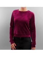Urban Classics Pullover Ladies Short Velvet rot