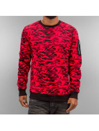 Urban Classics Pullover Sweat Camo Bomber rouge