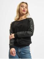 Urban Classics Pullover Leather Imitation Wideneck schwarz