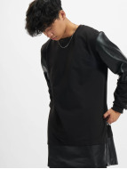Urban Classics Pullover Long Zipped Leather Imitation schwarz