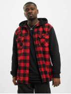 Urban Classics Skjorter Hooded Checked Flanell Sweat Sleeve red