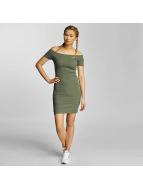 Urban Classics Sukienki Off Shoulder Rib oliwkowy