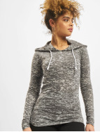 Urban Classics Sweat à capuche Ladies Melange Burnout Loose gris