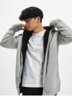 Urban Classics Sweat à capuche zippé Knitted Winter gris