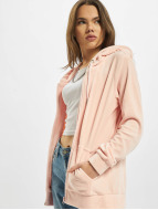 Urban Classics Sweat à capuche zippé Ladies Velvet rose