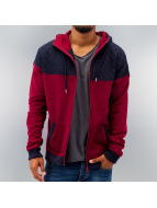 Urban Classics Sweat à capuche zippé Diamond Block rouge