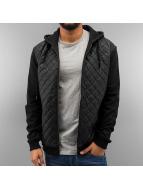 Urban Classics Sweatvest Diamond Half Leather Imitation zwart