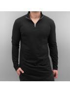 Urban Classics T-Shirt manches longues Long Shaped Turtle Zip noir
