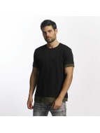 Urban Classics T-Shirt Long Shaped Camo Inset noir