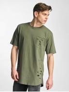 Urban Classics t-shirt Ripped Pocket olijfgroen