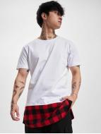 Urban Classics t-shirt Long Shaped Flanell Bottom wit