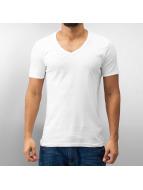 Urban Classics T-Shirts Slim 1by1 V-Neck beyaz