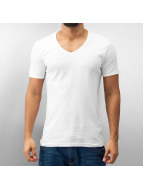 Urban Classics T-Shirty Slim 1by1 V-Neck bialy