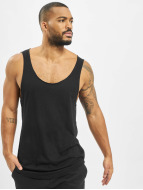 Urban Classics Tank Tops Long Shaped Open Edge Loose negro