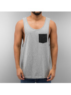 Urban Classics Tanktop Leather Imitation Pocket Loose grijs