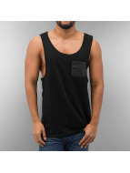 Urban Classics Tanktop Leather Imitation Pocket Loose zwart