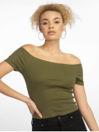 Urban Classics top Off Shoulder Rib olijfgroen