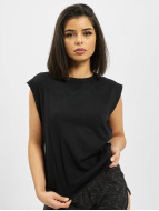 Urban Classics top Jersey Lace Up zwart