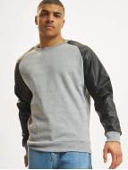 Urban Classics Tröja Raglan Leather Imitation grå