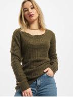 Urban Classics trui Ladies Long Wideneck olijfgroen