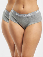 Urban Classics Unterwäsche Ladies Double Pack Logo grau