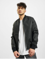 Urban Classics Veste en cuir Imitation Leather Raglan noir