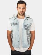 Urban Classics Veste sans manche Hooded Camo Denim bleu