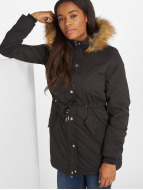 Urban Classics winterjas Ladies Sherpa Lined Peached zwart