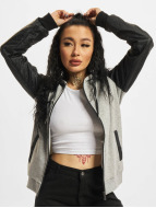 Urban Classics Zip Hoodie Diamond Leather Imitation Sleeve grau