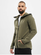 Urban Classics Zip Hoodie Athletic High Neck Interlock olive