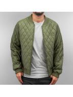 Urban Classics Zomerjas Diamond Quilt Leather Imitation olijfgroen