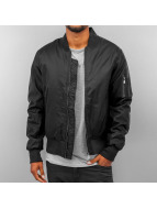 Urban Classics Zomerjas Basic Bomber Leather Imitation Sleeve zwart