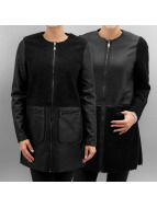 Vero Moda leren jas vmToni 3/4 Leather Long Reversible zwart