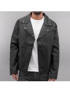 Biker Leather Jacket Bla...