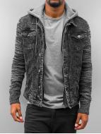 VSCT Clubwear Hybrid Denim Jacket with Moulinee Sleeves Black