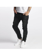 VSCT Clubwear Slim Fit Jeans Knox Kneecut Leahter Kneepatch nero