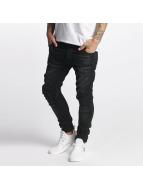 VSCT Clubwear Slim Fit Jeans Knox Kneecut Leahter Kneepatch schwarz