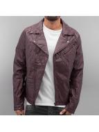 VSCT Clubwear Veste en cuir Biker Leather rouge
