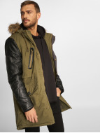 VSCT Clubwear Winterjacke Leatherlook Sleeves khaki