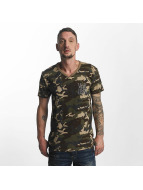 Yakuza Basic Line Long Tail V Neck T-Shirt Camouflage