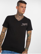 Yakuza Basic Line Long Tail V Neck T-Shirt Black