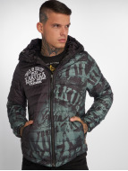 Yakuza Allover Label Quilted Hooded Jacket Black/Dark Green