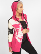 Yakuza Skull Mixed Long Zip Hoody Fuchsia Rose