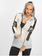 Yakuza Skull Mixed Long Zip Hoody Light Grey Melange