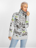Yakuza Butterfly Long Zip Hoody Light Grey Melange