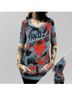 Yakuza T-Shirt Flower Allover Hooded blau