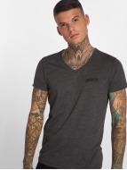 Yakuza T-Shirt Basic Line Distressed V-Neck grau