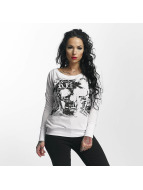 Yakuza T-Shirt manches longues Skull Script Two Face blanc