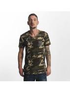 Yakuza Basic Line Long Tail V Neck T-Shirt Camouflage
